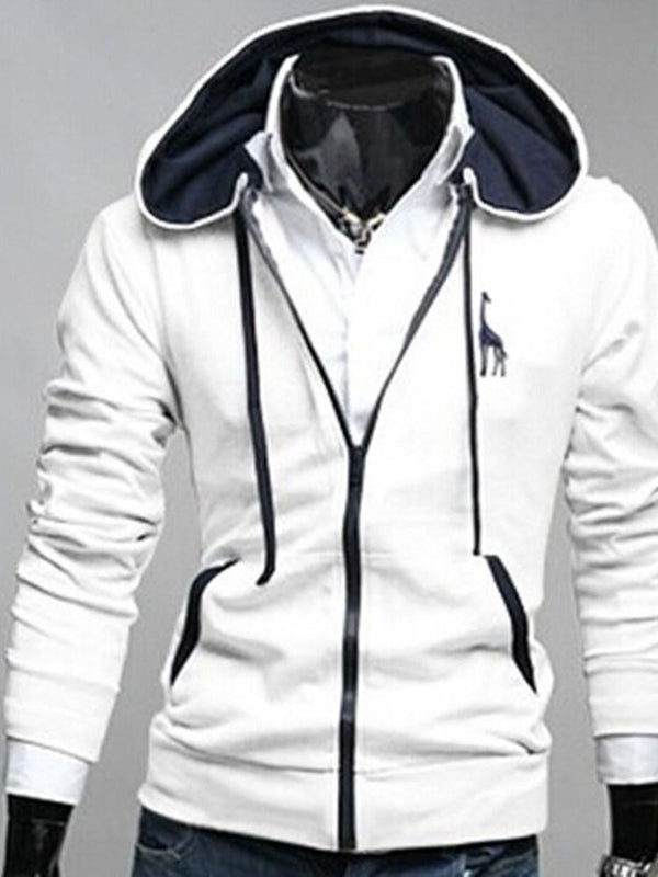 Lace-Up Animal Cardigan Zipper Straight Hoodies