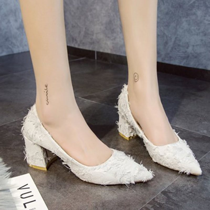 Slip-On Pointed Toe Chunky Heel Low-Cut Upper Casual Thin Shoes
