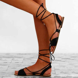Slingback Strap Lace-Up Open Toe Block Heel Plain Casual Sandals