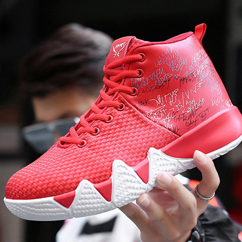 Lace-Up Mid-Cut Upper Mesh Round Toe Sneakers