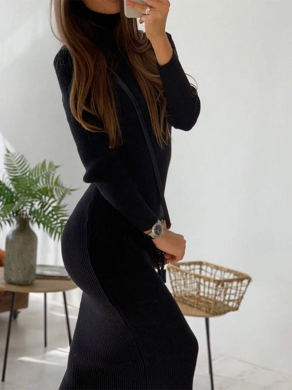 Nine Points Sleeve Mid-Calf Turtleneck Casual Pullover Dress