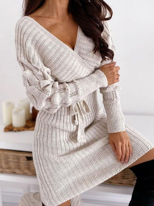 Long Sleeve Above Knee V-Neck Plain Pullover Dress