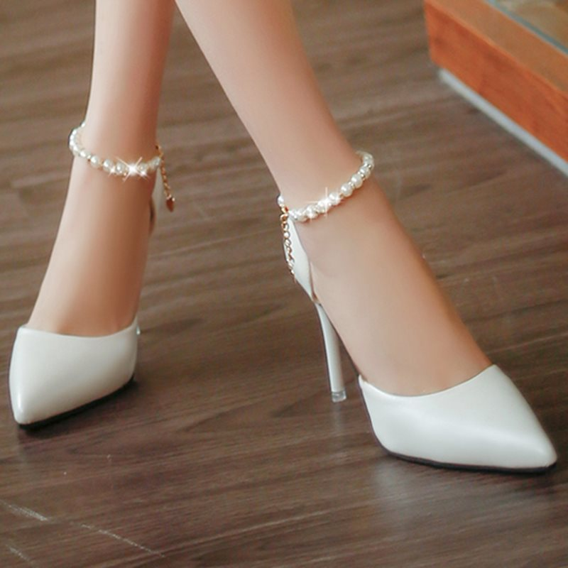Bead Pointed Toe Plain Stiletto Heel Women's Pumps