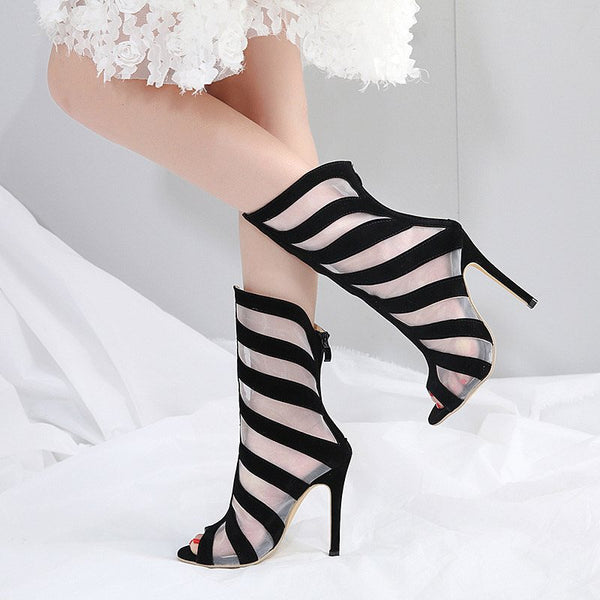 Back Zip Stripe Peep Toe Stiletto Heel Casual See-Through Boots