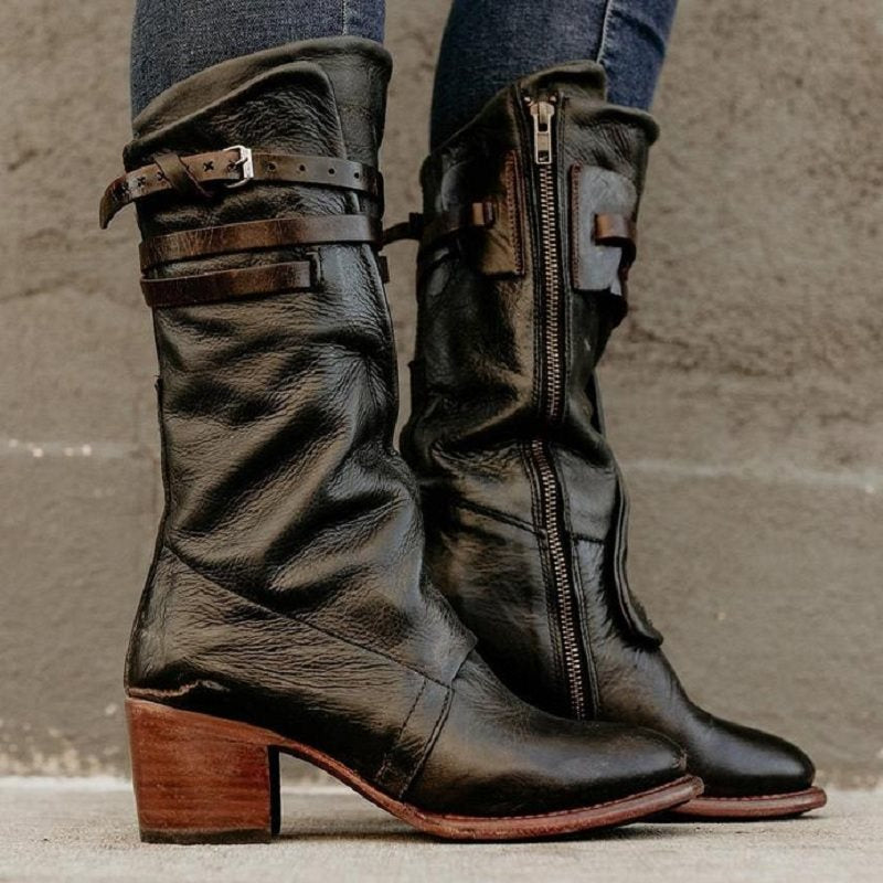 Side Zipper Round Toe Block Heel Zipper England Boots