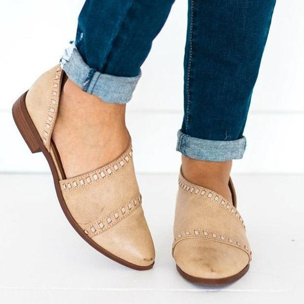 Closed Toe Block Heel Thread Slip-On Casual Western Thin Shoes