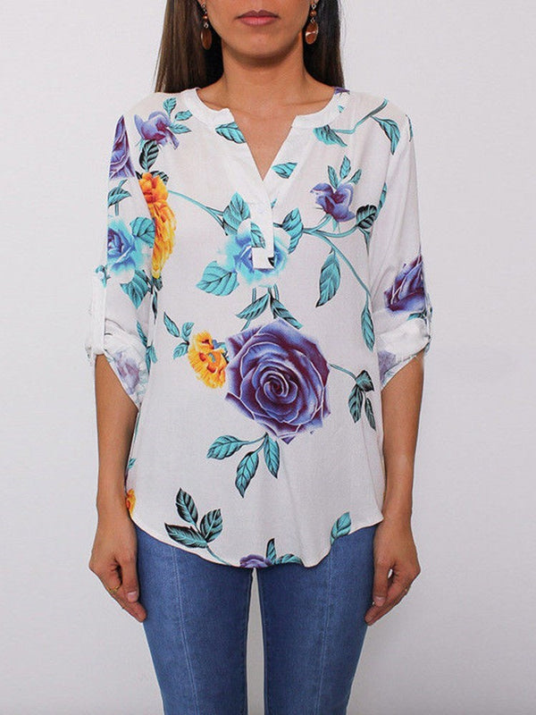 V-Neck Floral Print Nine Points Sleeve Standard Blouse
