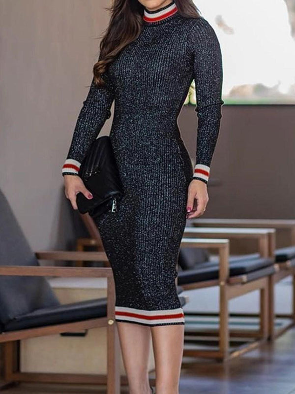 Stand Collar Mid-Calf Long Sleeve Regular Sheath Dress