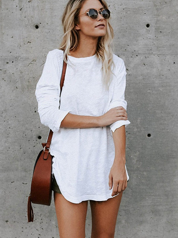 Long Sleeve Round Neck Mid-Length Fall Casual T-Shirt