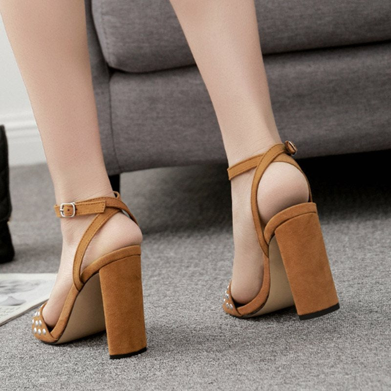 Chunky Heel Ankle Strap Open Toe Line-Style Buckle Casual Plain Sandals