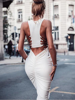 Tank Pleated Off Shoulder Bandage Midi Skinny Bodycon Dress
