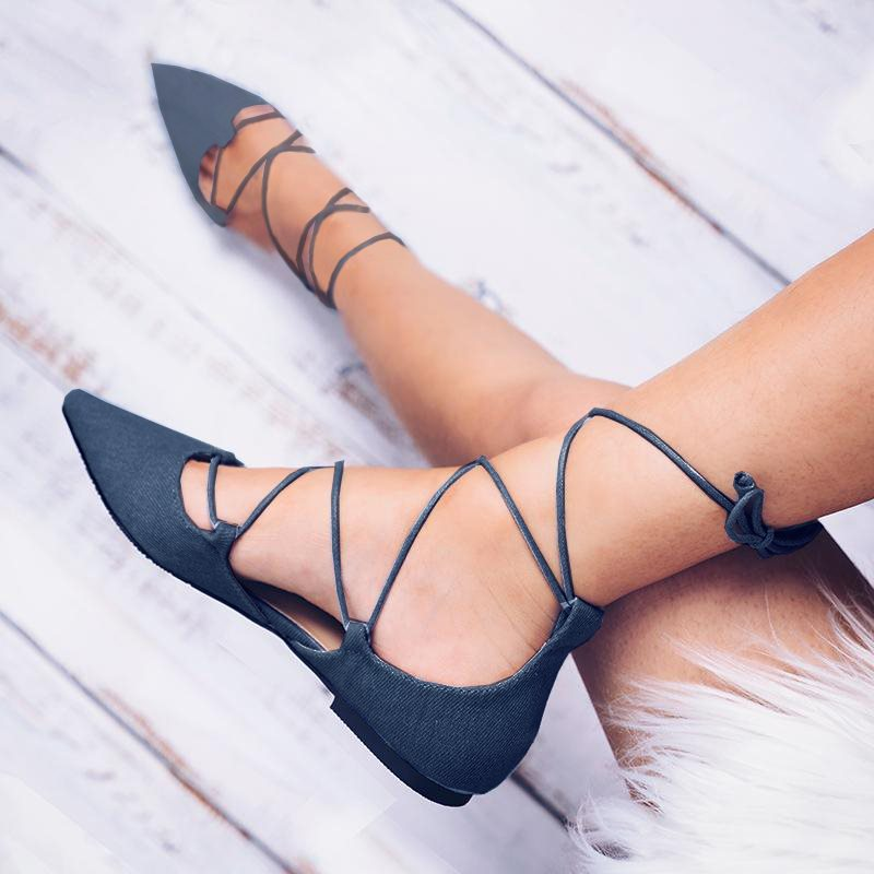 Lace-Up Block Heel Pointed Toe Low-Cut Upper 1cm Thin Shoes