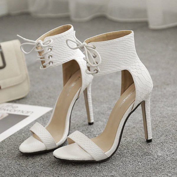 Lace-Up Heel Covering Stiletto Heel Open Toe Casual High-Cut Upper Sandals