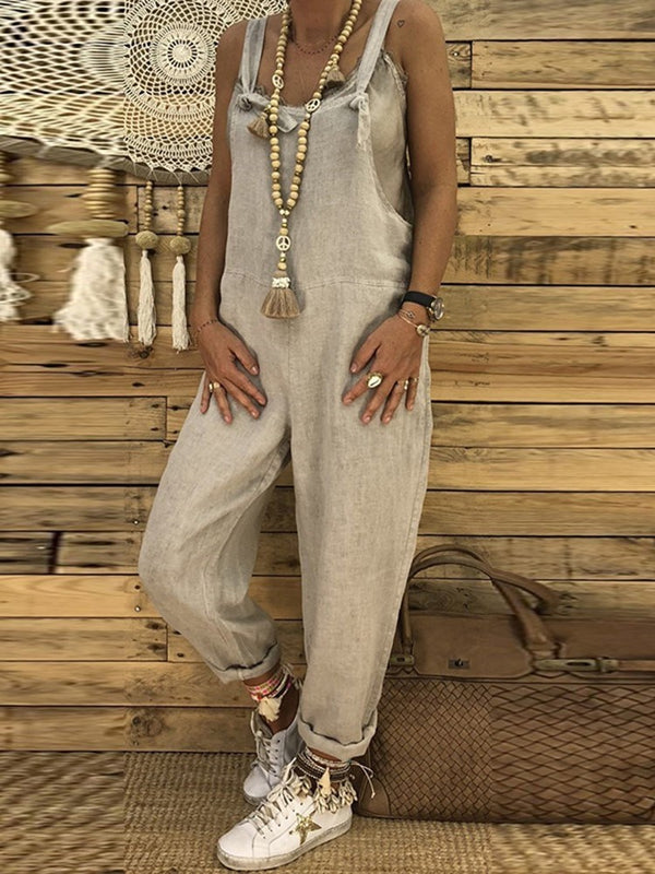 Full Length Plain Worn Straight Loose Jumpsuits