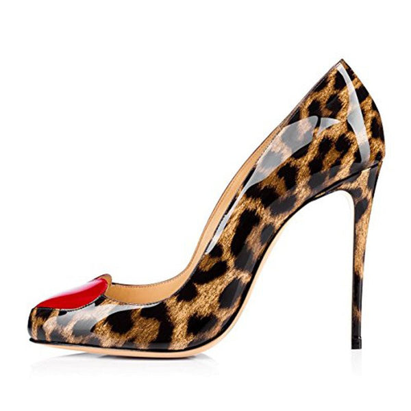 Stiletto Heel Pointed Toe Slip-On Leopard Low-Cut Upper Thin Shoes