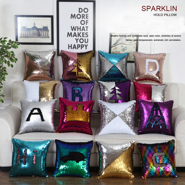 DIY Mermaid Sequin Cushion Cover Magical Throw Pillowcase 40X40cm