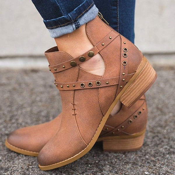 Round Toe Plain Flat With Back Zip Casual Western Boots