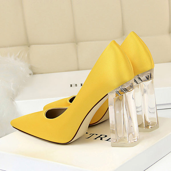 Chunky Heel Slip-On Closed Toe Ultra-High Heel Plain Thin Shoes