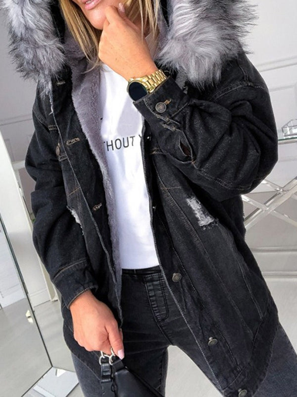 Patchwork Single-Breasted Hooded Long Sleeve Loose Trench Coat