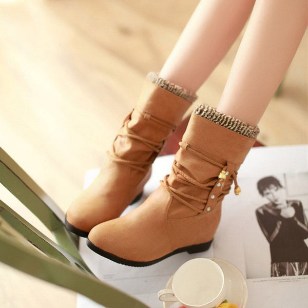 Round Toe Block Heel Slip-On Plain Casual Lace-Up Boots