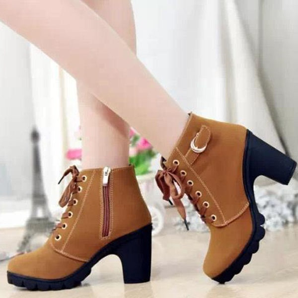 Lace-up Zipper Round Toe Chunky Heel Women's Boots (Plus Size Available)