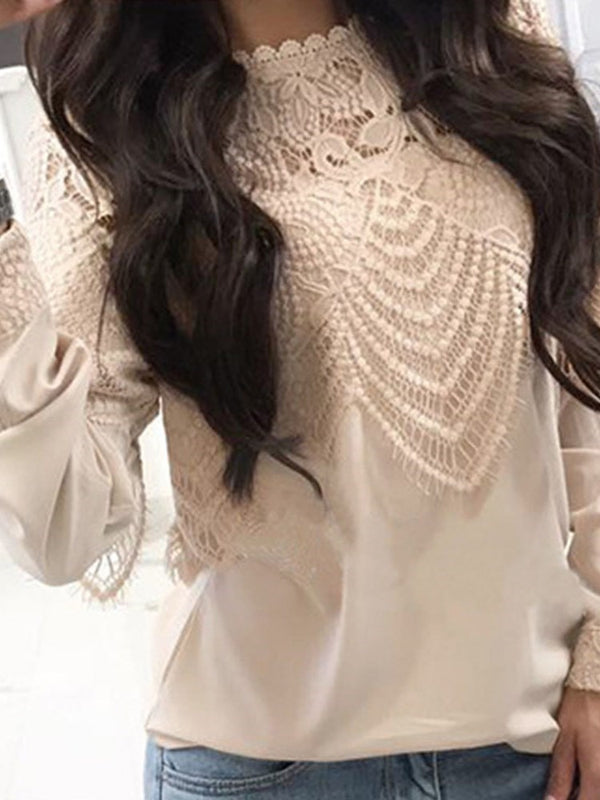 Regular Lace Round Neck Long Sleeve Standard Blouse