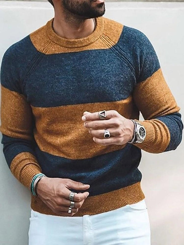 Standard Color Block Winter Loose Sweater