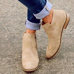 Plain Side Zipper Block Heel Round Toe Short Floss Casual Boots