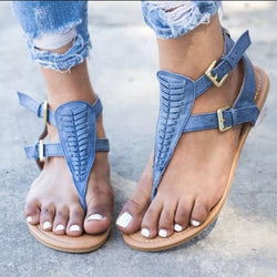 Buckle Block Heel Thong Strappy Casual Plain Sandals