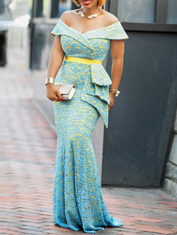 Slash Neck Short Sleeve Floor-Length Elegant Off-The-Shoulder Dresses