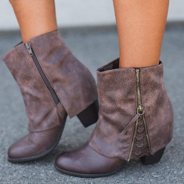 Side Zipper Round Toe Patchwork Chunky Heel Zipper Casual Boots