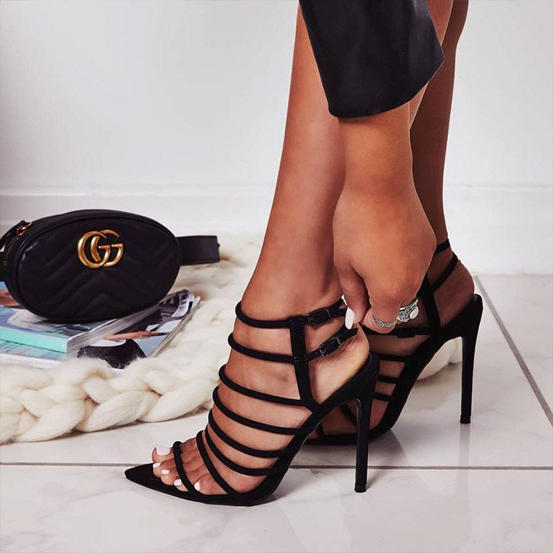 Buckle Open Toe Stiletto Heel Casual Low-Cut Upper Sandals