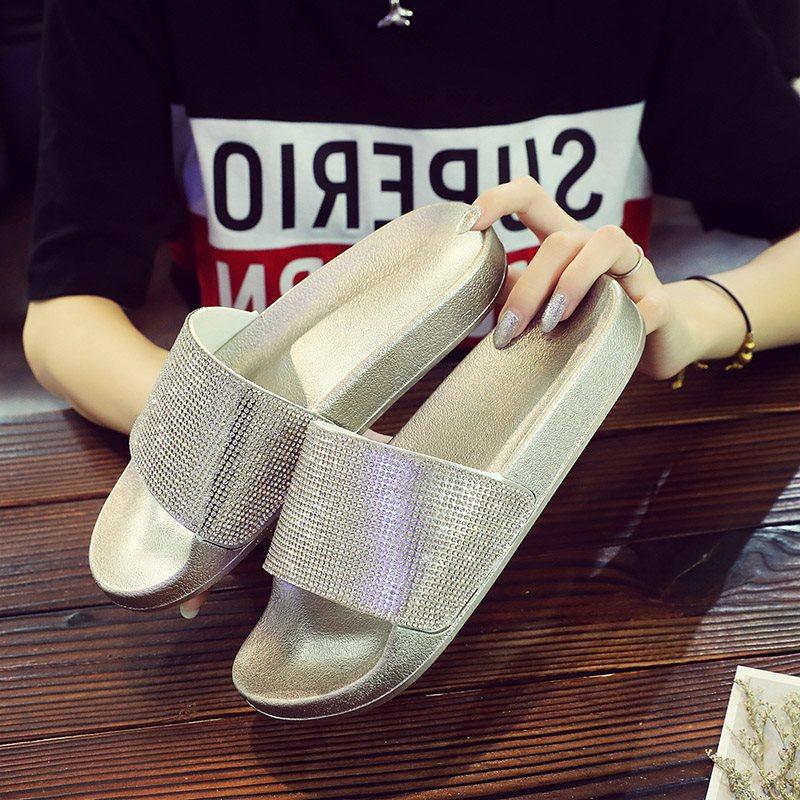 Flip Flop Slip-On Flat With Rhinestone Summer PVC Slippers