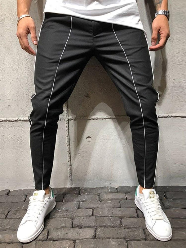 Pencil Pants Stripe Casual Mid Waist Casual Pants