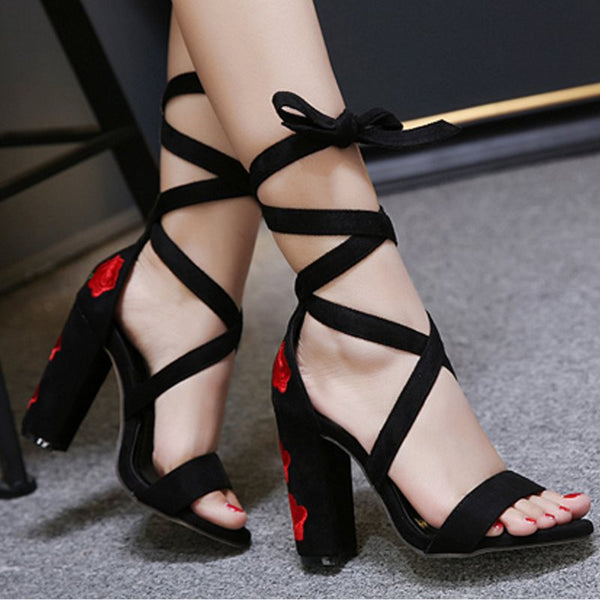 Chunky Heel Lace-Up Open Toe Embroidery Color Block Sandals