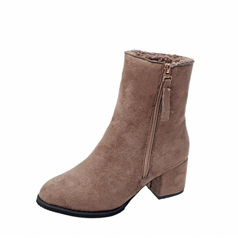 Side Zipper Chunky Heel Plain Round Toe Short Floss Casual Boots