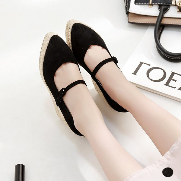 Pointed Toe Wedge Heel Buckle Platform Low-Cut Upper Casual Thin Shoes