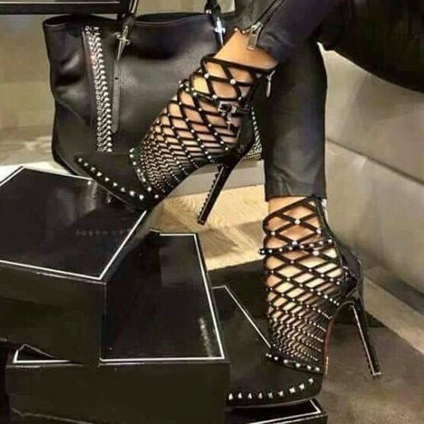 Stiletto Heel Side Zipper Pointed Toe PU Rivet Heels