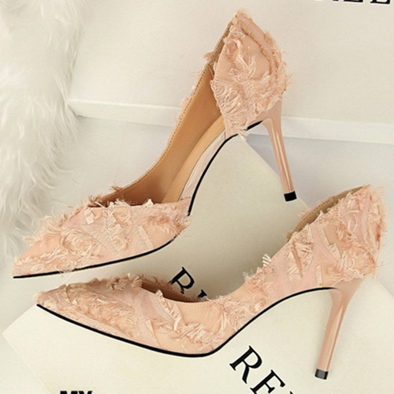 Pointed Toe Stiletto Heel Slip-On Banquet Low-Cut Upper Thin Shoes