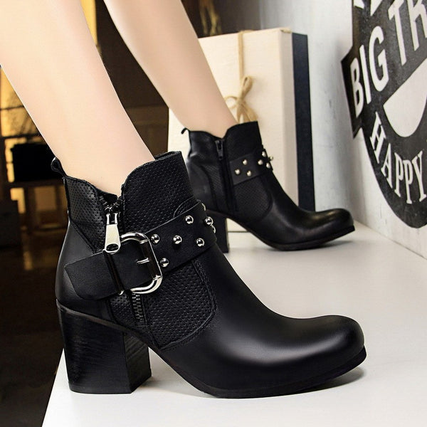 Round Toe Plain Side Zipper Chunky Heel Casual Western Boots