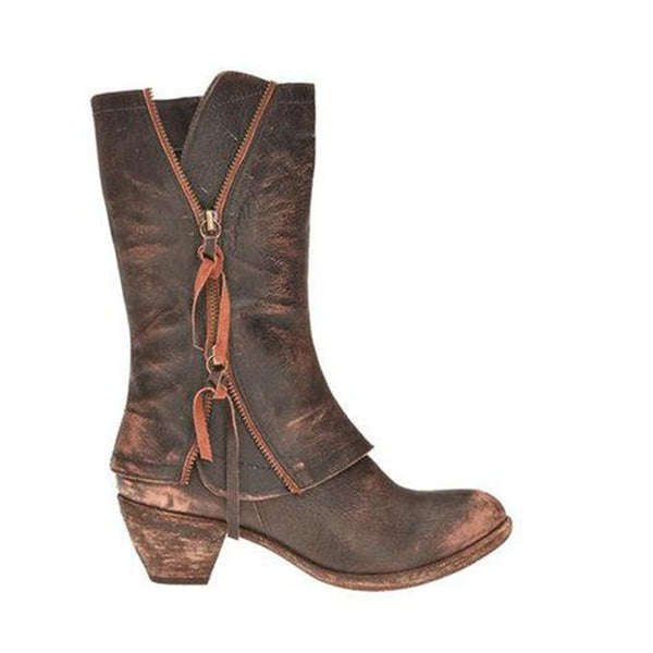 Chunky Heel Side Zipper Plain Round Toe Casual Western Boots