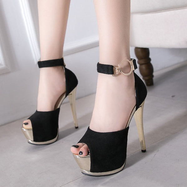 Peep Toe Platform Stiletto Heel Line-Style Buckle Low-Cut Upper Plain Thin Shoes