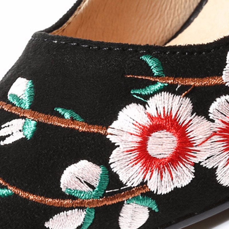 Stiletto Heel Pointed Toe Embroidery Slip-On Casual Low-Cut Upper Thin Shoes