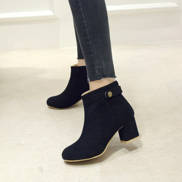 Slip-On Round Toe Plain Chunky Heel Cotton Buckle Boots