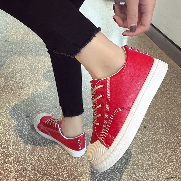 Platform Lace-Up Round Toe Low-Cut Upper PU Flat With Sneakers