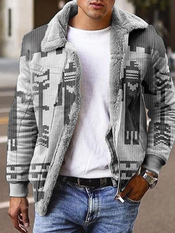 Color Block Print Thick Fall Zipper Jacket