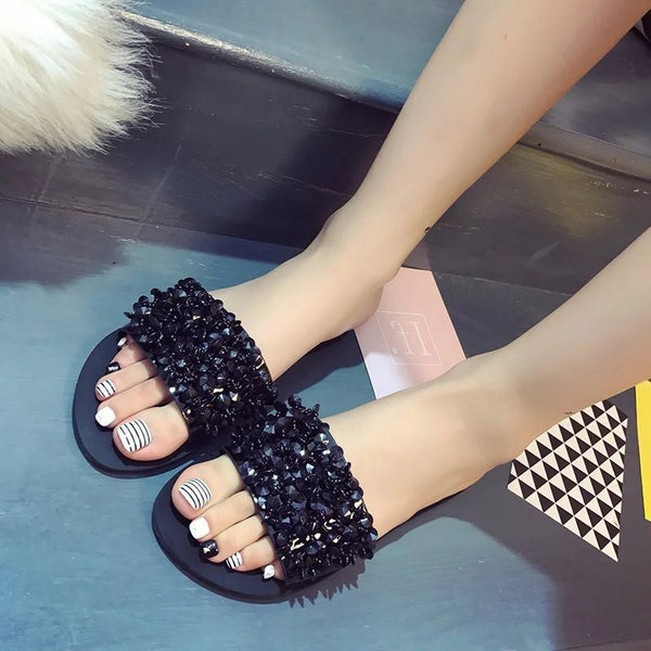 Flip Flop Slip-On Flat With Rhinestone Casual Rubber Slippers