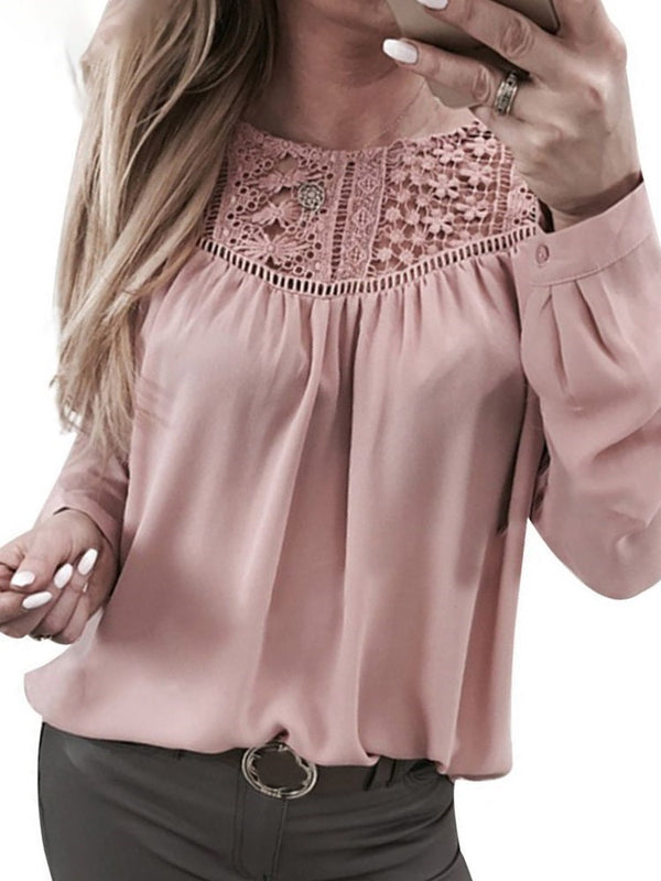 Plain Regular Patchwork Long Sleeve Standard Blouse