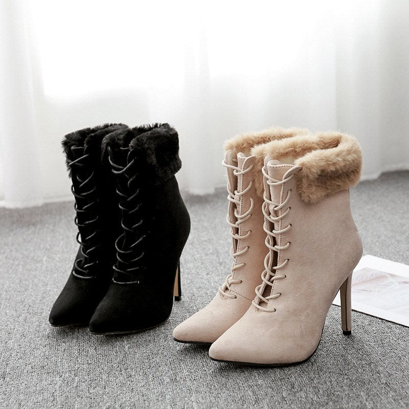 Stiletto Heel Pointed Toe Plain Lace-Up Front Casual Purfle Boots