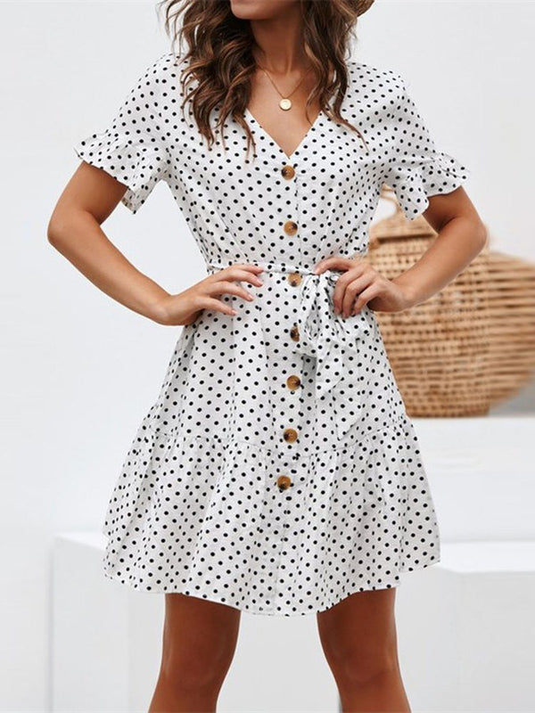 Short Sleeve V-Neck Button A-Line Casual Dress